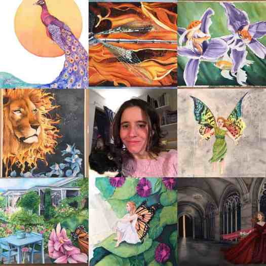 Composite photo, Michelle Goggans and 8 photos of her artworks
