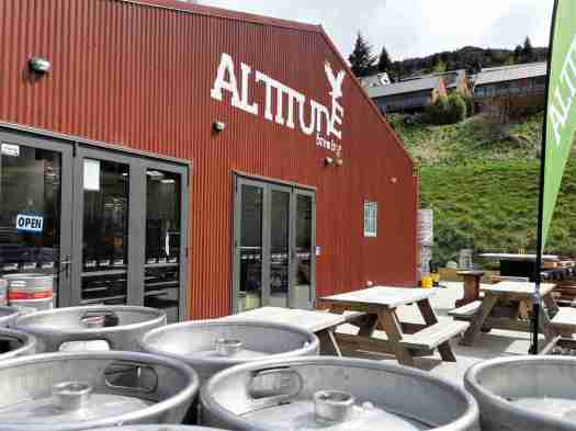 The bright red Altitude Brewing brewery at Frankton Marina.