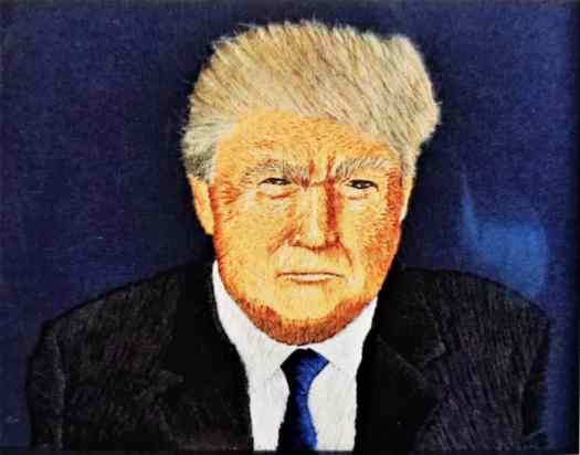 Amy Baker's embroidered portrait of Donald Trump, with cat-fur hair.