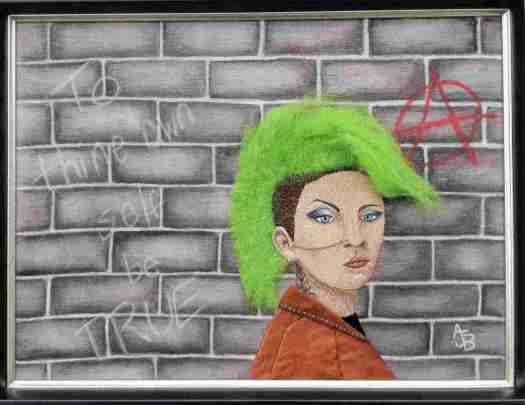 The green-haired portrait of Punk Girl who sprang into Amy Baker's mind one day.