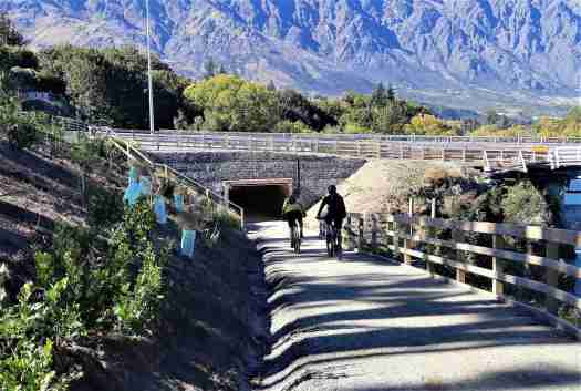 Cyclists riding on the underpass of the new Kawarau Falls Bridge