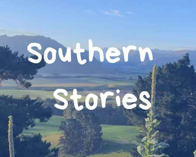 Logo for Southern Stories: View over the valley.