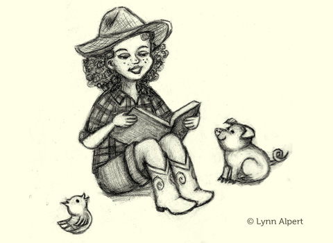Sketch of cowgirl reading to piglet and chick by children's illustrator Lynn Alpert