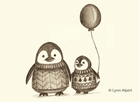 sketch of penguins in sweaters by children's illustrator Lynn Alpert