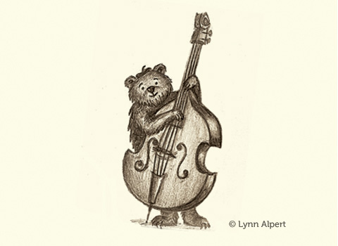 sketch of bear playing bass by children's illustrator Lynn Alpert