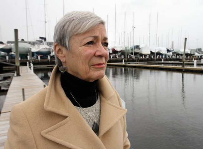Susan Terhune, mother of Eric Cabral, at the family's boatyard in Barrington, where Eric had worked. She hopes that sharing his story will change how the legal system treats people addicted to opioids. The Providence Journal/Bob Breidenbach