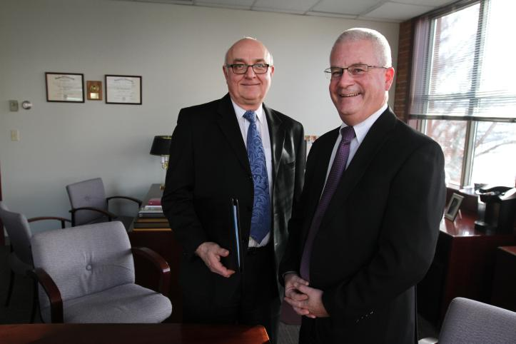 Care New England chief financial officer Joe Iannoni, left, and president and CEO Dennis Keefe are key players in the company's effort to turn itself around. The Providence Journal / Kris Craig