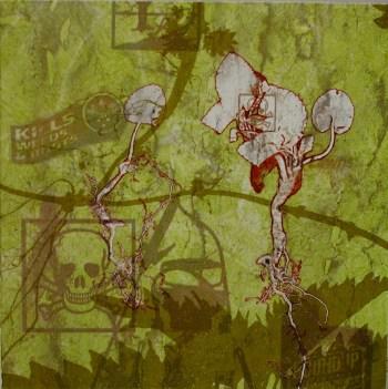 Mono print with screenprint. 15x15cm