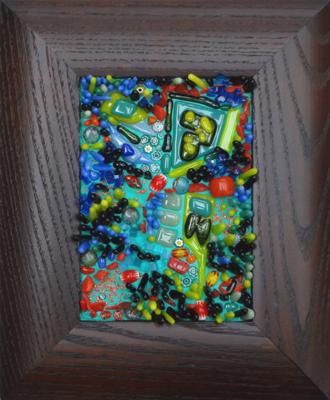 framed mosaic in blues, greens, red by Lynn Bridge