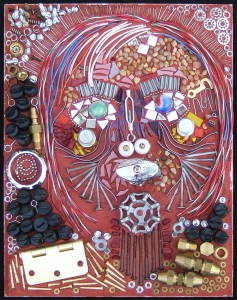 Mosaic art portrait made from found objects by Lynn Bridge in Austin, Texas