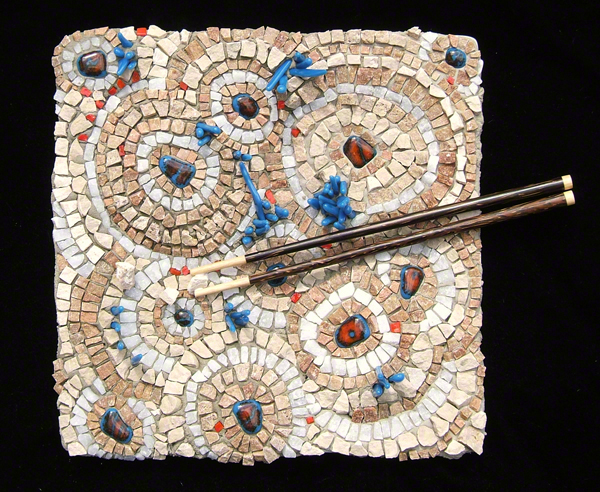 stone and fused glass and chopsticks mosaic plate made by Austin Texas mosaic artist, Lynn Bridge