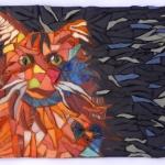 Orange mosaic cat by Lynn Bridge of Glencliff Art Studio in Austin, Texas, U.S.A.