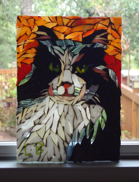 stained glass cat portrait by Lynn Bridge