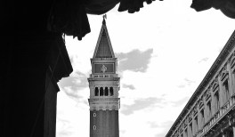 black and white campanile piazza san marco Venice