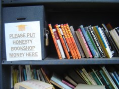 honesty sign book sale Hay on Wye Wales