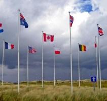 Flags Canadian war museum and memorial Juno Beach