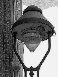 black and white Street lamp in Lubeck Germany