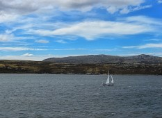 Sailing in Stanley harbour, Falkland Islands