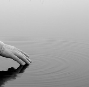A hand touches the surface of a pond leaving ripples across the water.