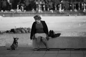 A woman sits on a concrete barrier looking down affectionately at a little dog looking up at her.