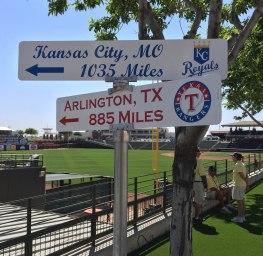 Royals and Rangers sign, Surprise Stadium