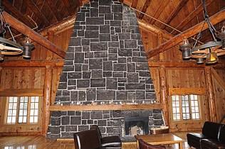 Mezzanine fireplace