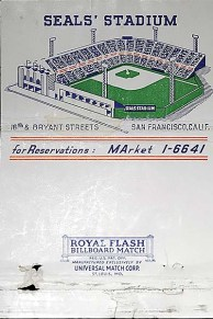 Seals Stadium Matchbook Cover