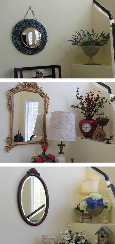 Mirrors in my foyer - changes with the season at Riverview B&B