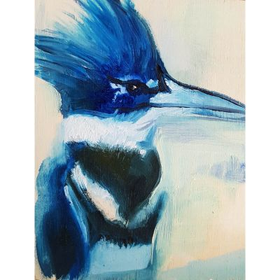 Kingfisher, blue contemporary art by Lynn Farwell