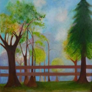 Trees, dusk contemporary art by Lynn Farwell