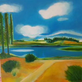 Landscape meadow, lake contemporary art by Lynn Farwell
