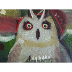 tawny owl contemporary art by Lynn Farwell