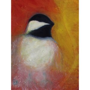 Chickadee oil painting contemporary art by Lynn Farwell