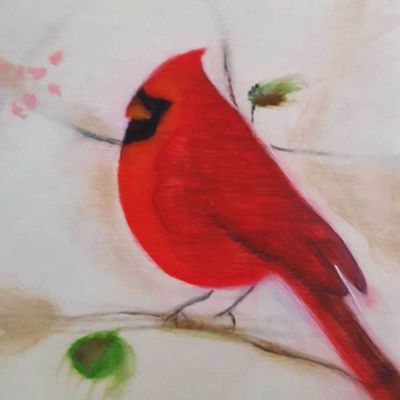Red cardinal contemporary art by Lynn Farwell