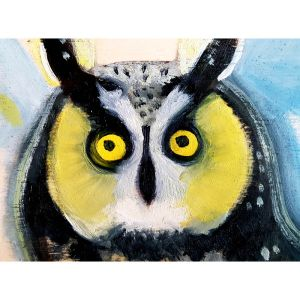 Yellow owl contemporary art by Lynn Farwell