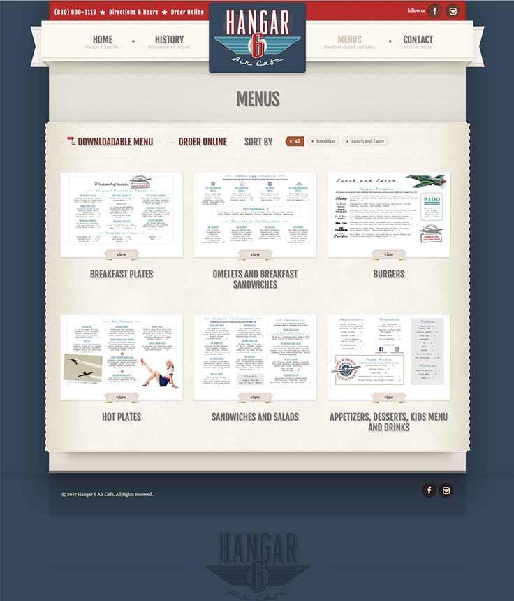 Hangar 6 Air Cafe website menus page
