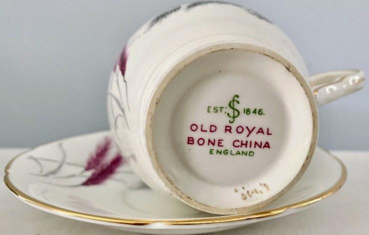 Bottom of a teacup displaying the Old Royal Bone Chine backstamp