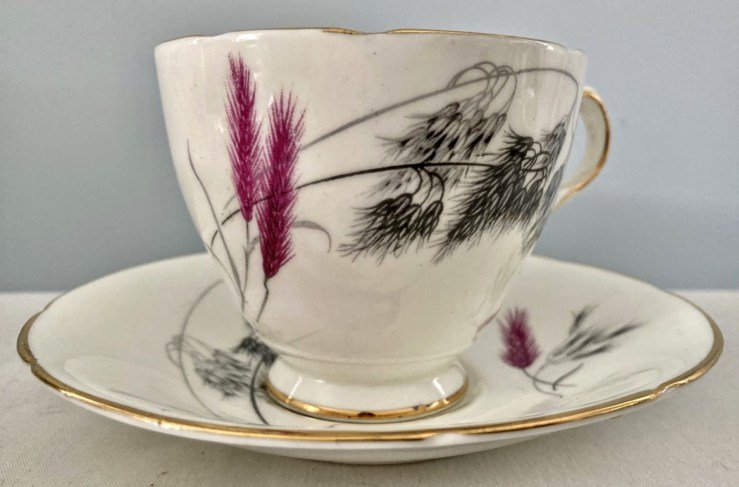 Old royal teacup, red violet wheat and black grass