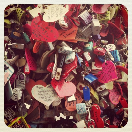 Padlocks of love at the N Seoul Tower