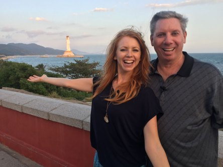 Me and Mike Sexton with a view of Guan Yin at Nanshan Temple