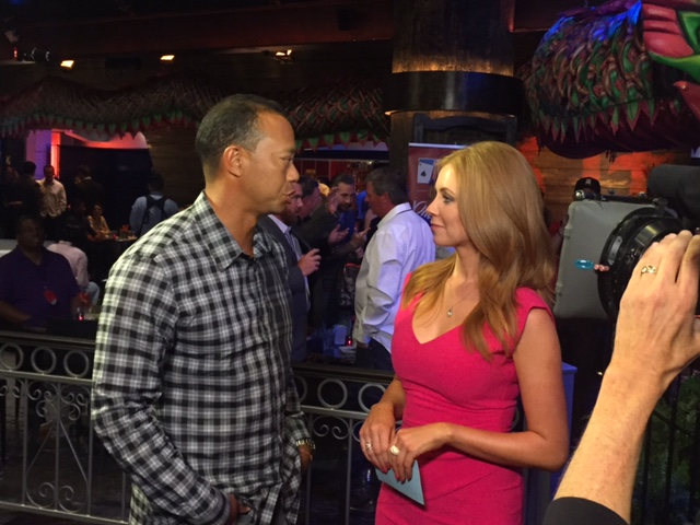 Lynn Gilmartin interviews Tiger Woods at Tiger's Poker Night