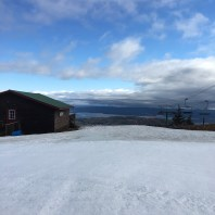 Looking out over Lake Winnipesaukee from the summit of Gunstock. Panorama Pub on the left, Panorama Quad Chair on the right (it was running, but I didn't see anyone skiiing - this was at 9:00 AM).