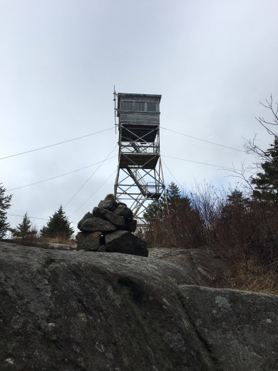 At the summit of Belknap Mountain. State fire tower at the peak.