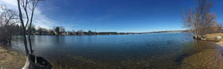Panorama of Lake Opechee from the Messer Street Boat Ramp - downtown Laconia to the left, Lakeport to the right.