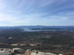 View of Lake Winnipesaukee and the Belknap mountain range from the summit of Bald Knob (Gunstock Mt. is the one with the ski slopes in the center).