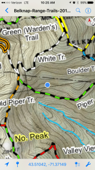 Here's where the interactive map showed I was - not on the trail at all! But it really was the (new) trail, not yet updated on the map.