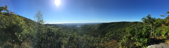From this overlook on the Belknap Mountain white trail, you can see Manning Lake (center), and Swett Mountain and Piper Mountain to the right of it.