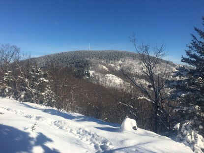 Looking at Belknap Mountain from the Old Piper Trail ledges.