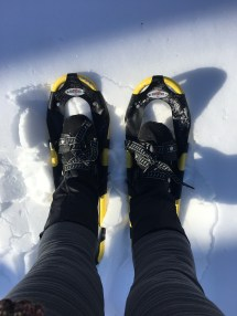 You can see the crustiness of the snow here - note the chunks next to my left snowshoe!