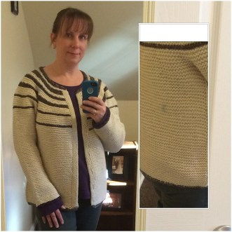 Striped Yoke Cardigan - cream is Cascade Eco Wool; yoke stripes and trim on cuffs, hem and neckband is my own handspun from Spunky Eclectic targhee fiber.